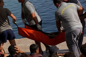 Migrants drowning on island of Lampedusa. Photo by Sara Prestianni