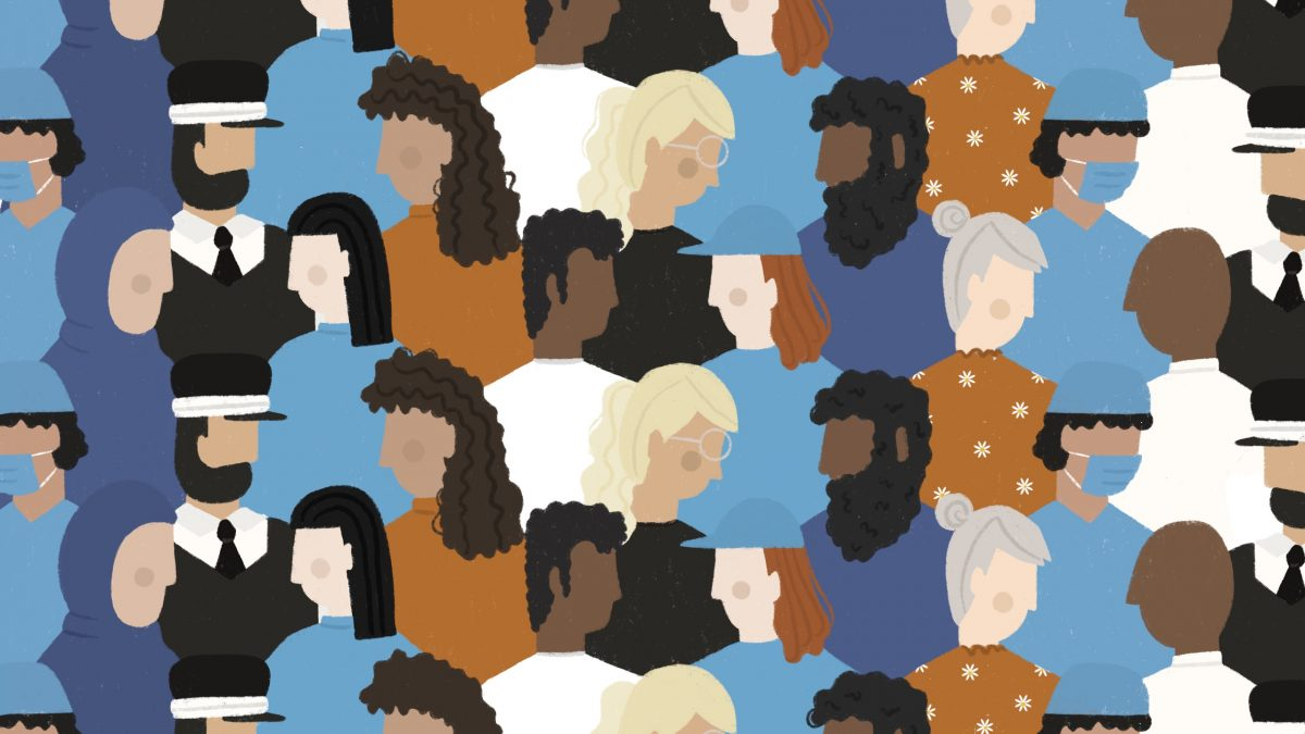 Repeating illustrations of faceless people from varying backgrounds.